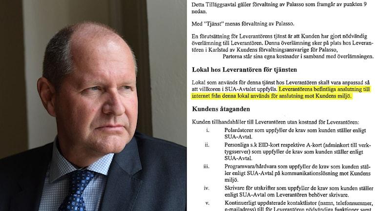 Rikspolischef Dan Eliasson. Vitmaskerad skärmdump av avtalet.