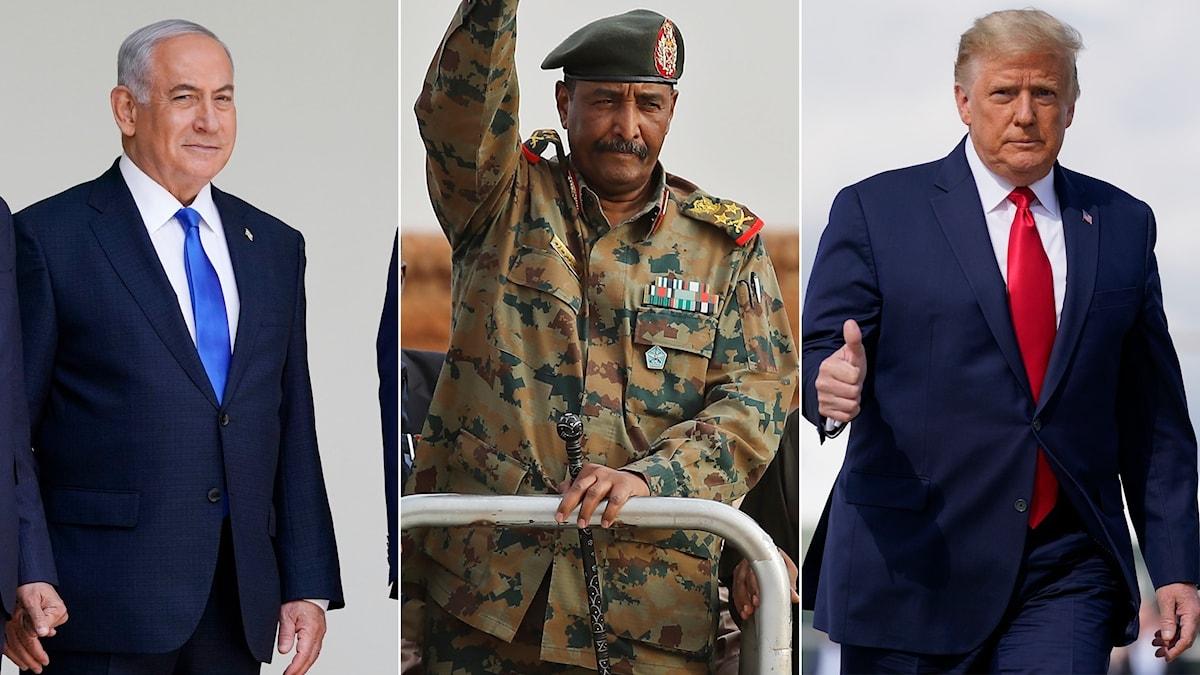 Tredelad bild på Israels premiärminister Benjamin Netanyahu, Abdel Fattah al-Burhan, militären som leder Sudans övergångsregering och USA:s president Donald Trump.