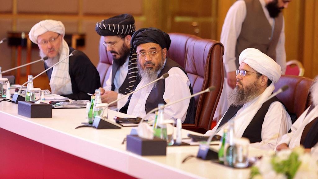 Talibanernas delegation i Qatar  i juli 2021. Arkivbild