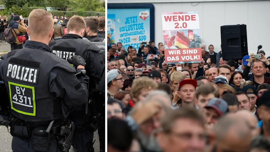 Poliser och en folkmassa.