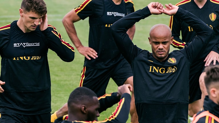 Delar av Belgiens landslag i fotboll.