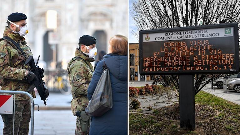 Bildsplit på militärer med munskyddsmask och skylt på italienska.