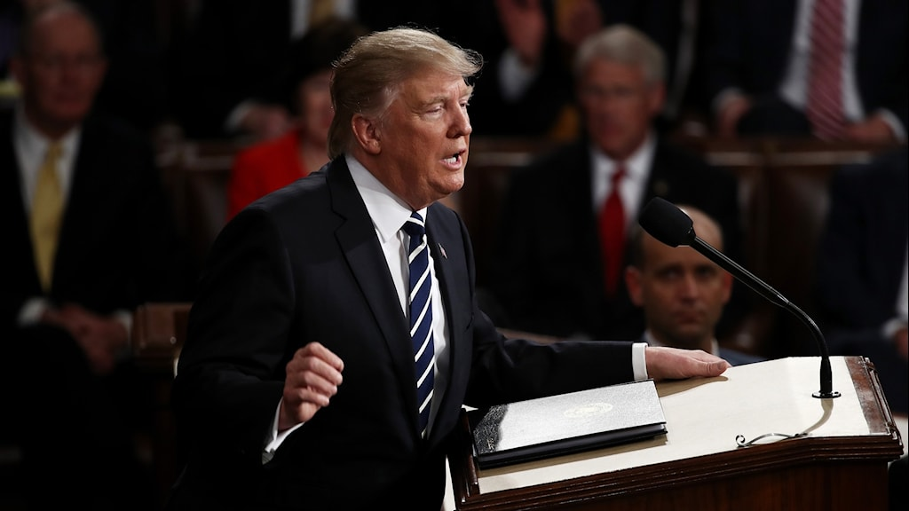 Trump håller tal. Foto: Win Mcnamee/TT.