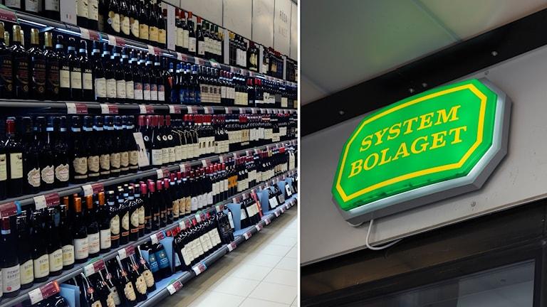 Bildsplit på hylla  med viner och systembolagets skylt.