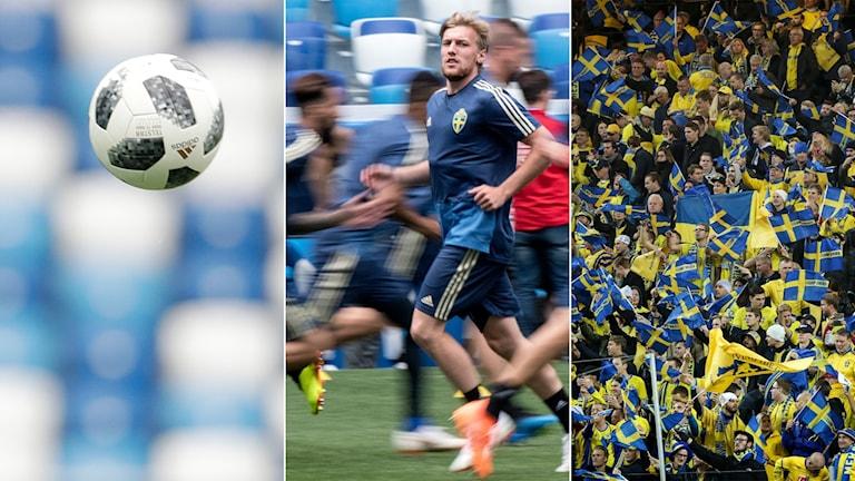 Tredelad bild: fotboll i luften, landslagsspelare och blågula fotbollsfans.