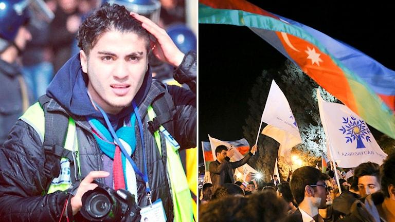 Mehman Husejnov och supportrar till presidenten Ilham Aliyev