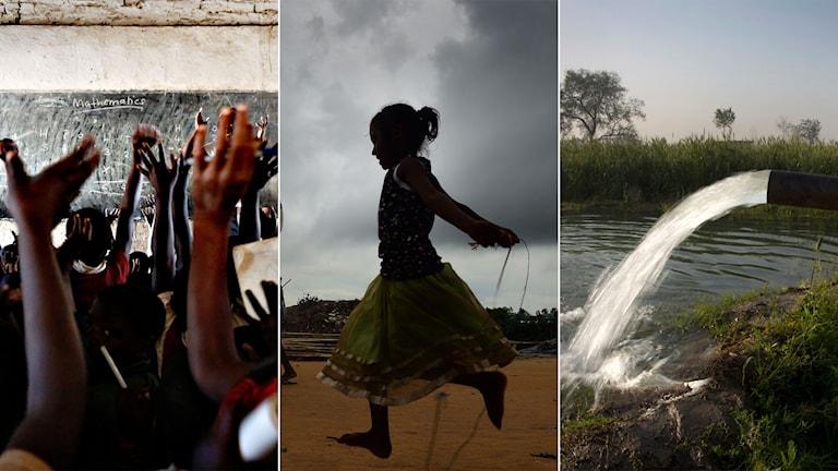 Tredelad bild: Skola, barn som hoppar hopprep och rent vatten som pumpar ur ett rör.