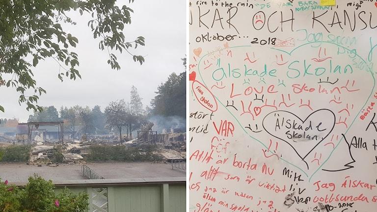 """På en tavla har elever fått skriva sina tankar, i ett hjärta står det """"saknar skolan""""."""