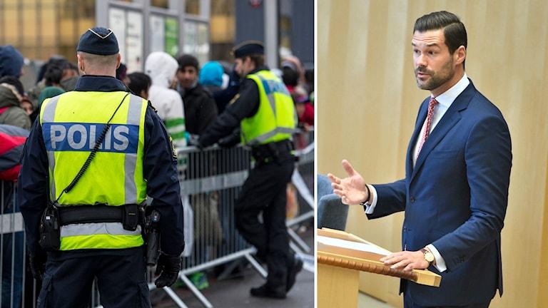 Poliser vid gränskontroll och Moderaternas Johan Forssell