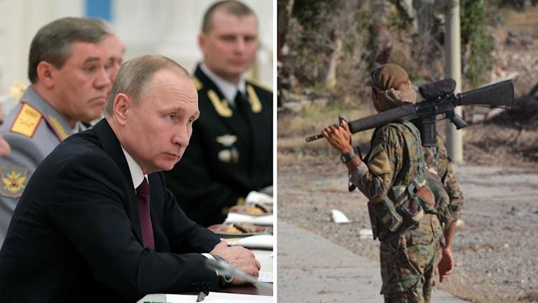 Vladimir Putin och soldat.