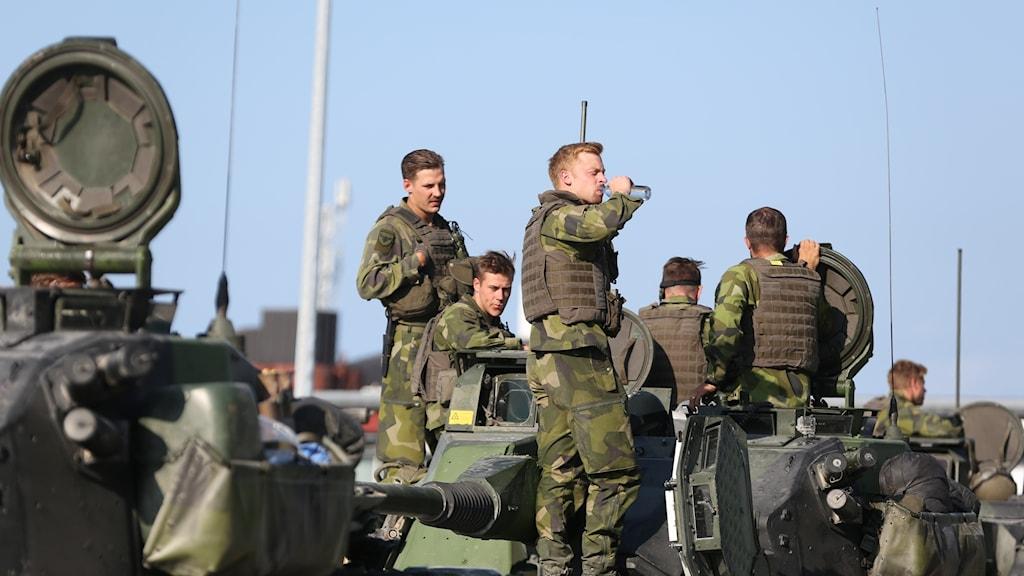 Försvarsmakten övar på Gotland.