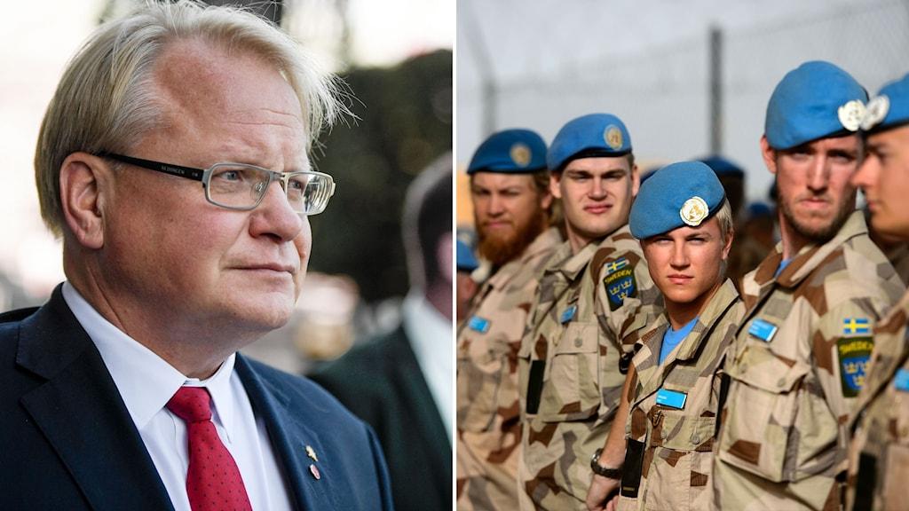 Till vänster: Försvarsminister Peter Hultqvist (S). Till höger: Svenska FN-soldater.
