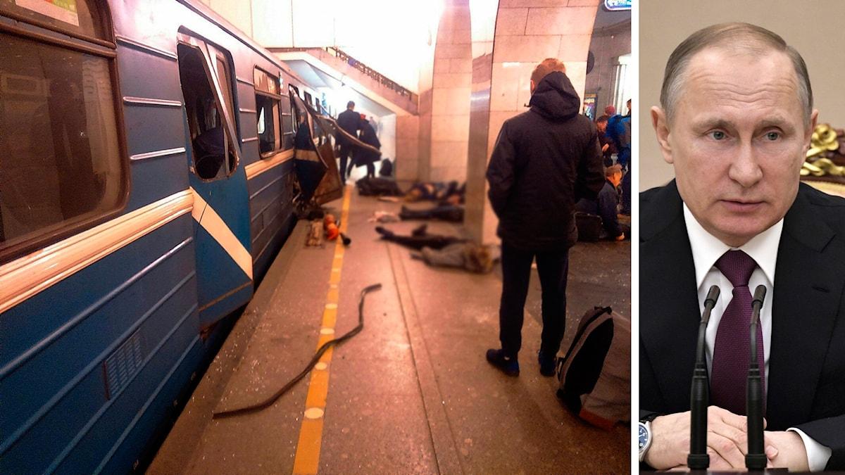 Foto på sprängd vagn i Ryssland