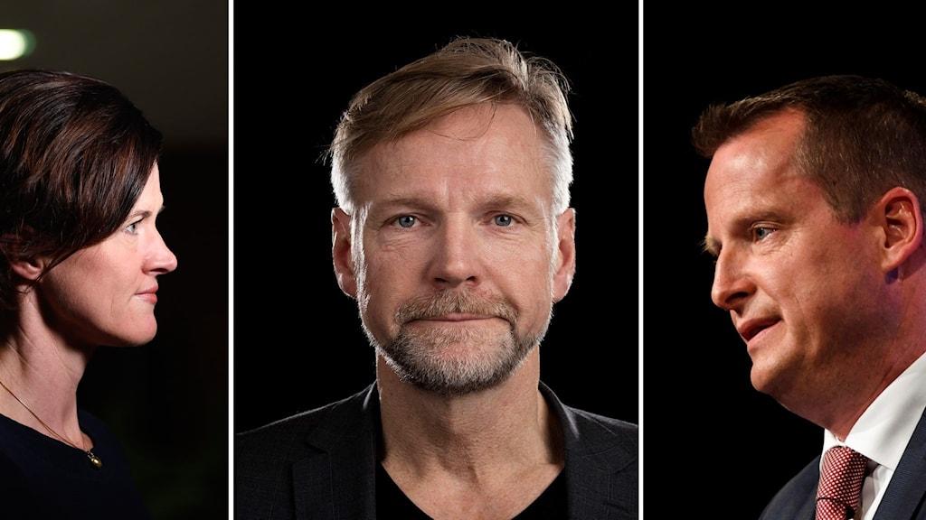 Anna Kinberg Batra (M), Tomas Ramberg Sveriges Radio, Anders Ygeman (S)
