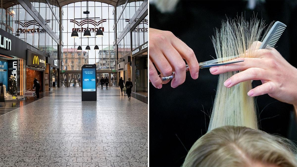 Tomt i köpcentret Nordstan i Göteborg och bild på frisör som klipper hår