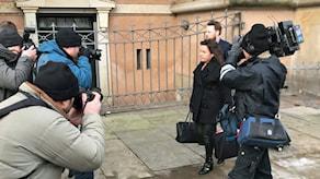 Peter Madsens försvarare Betina Hald Engmark anländer till rätten.