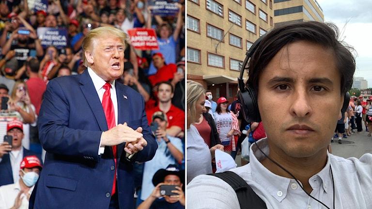 Till vänster: Donald Trump. Till höger: Ekots korrespondent Fernando Arias.