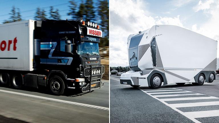 Lastbil och självkörande lastbil