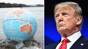 Jordglob i vatten och Donald Trump
