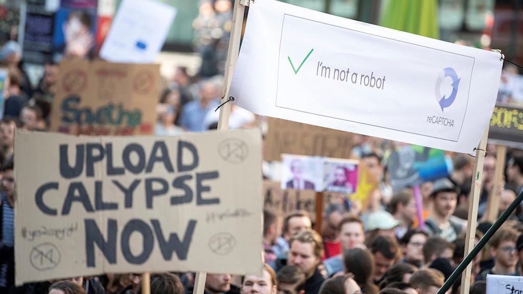 Protester i Tyskland mot EU:s upphovsrättsdirektiv.
