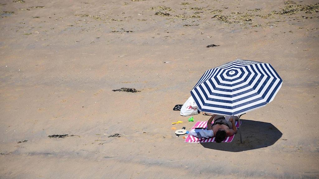 En kvinna ligger under ett parasoll på en strand.
