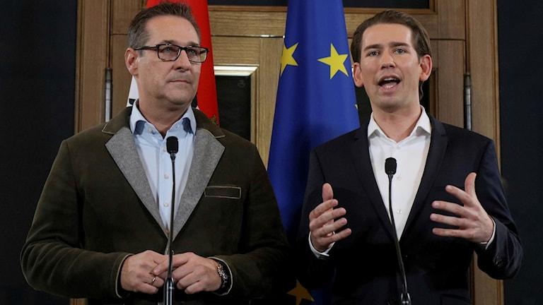 Heinz Christian Strache och Sebastian Kurz.