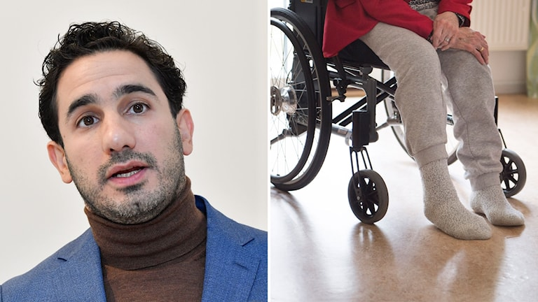 Bild på Ardalan Shekarabi och bild på nederkroppen av en äldre kvinna i rullstol.
