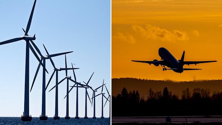 Delad bild: Vindkraftverk till havs och ett flygplan som lyfter i solnedgången.