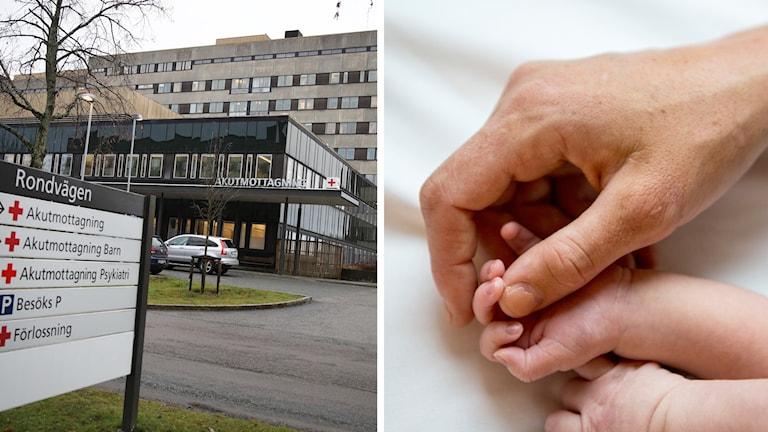 Östra sjukhuset och en bebishand.