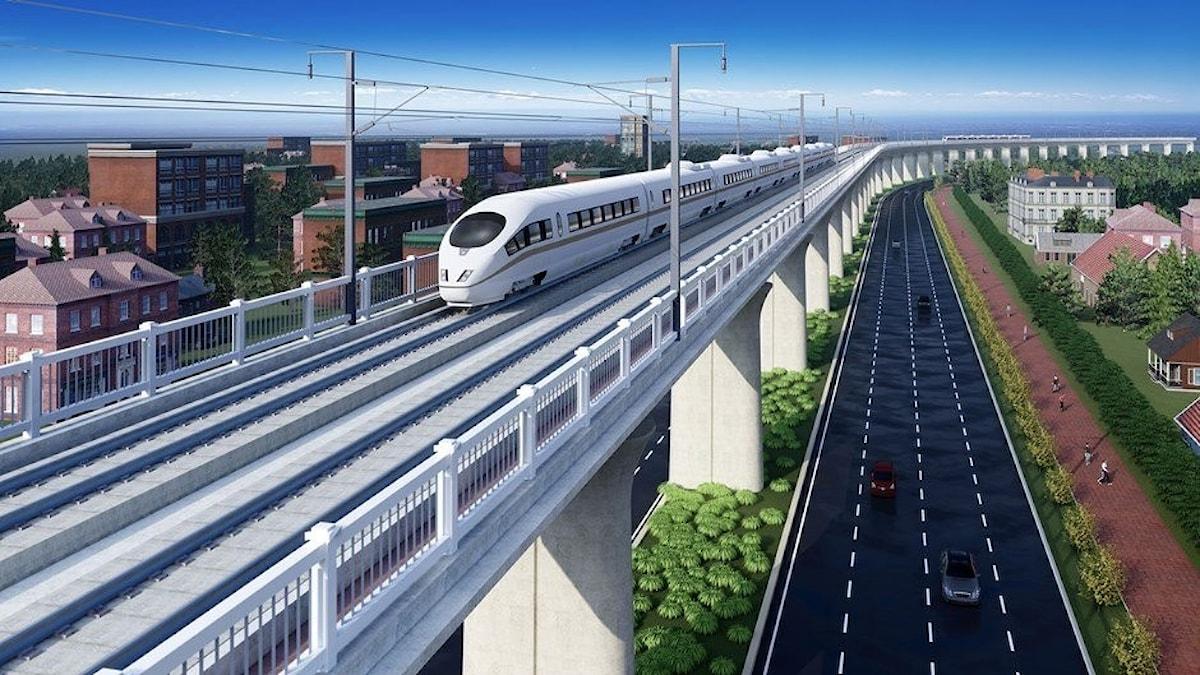Tåg på landbro