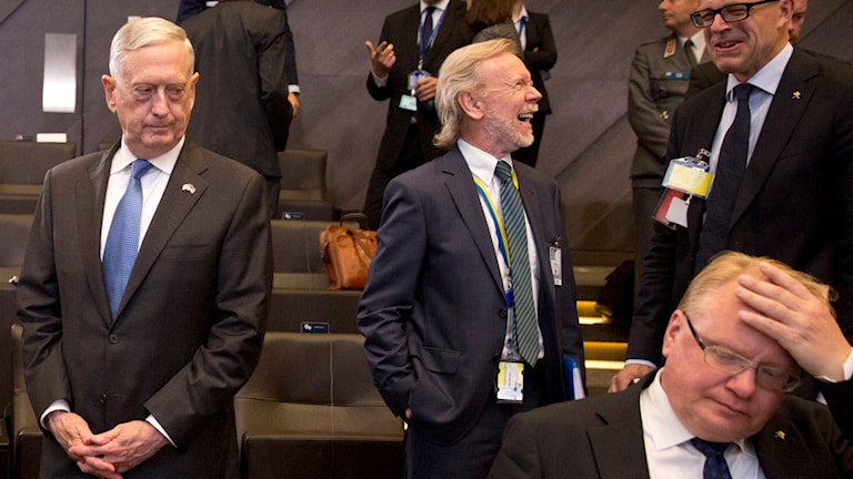 Amerikanske försvarsministern James Matt till vänster i bild och Peter Hultqvist sittande till höger i bild.
