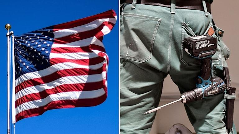 Amerikansk flagga och en person med verktyg i byxorna.