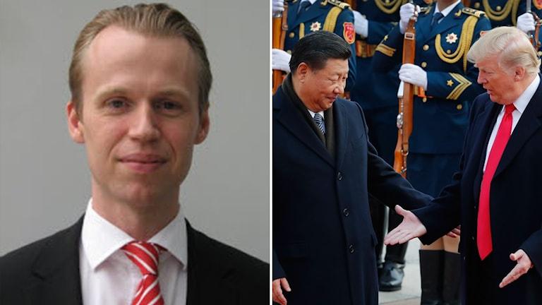 Fredrik Hähnel, SEB och en bild på Xi Jinping och Donald Trump.