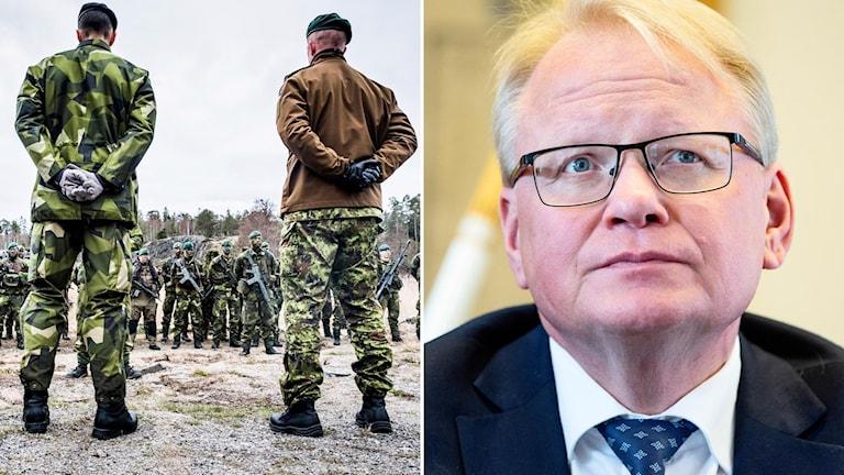Försvarsminister Peter Hultqvist (S) till höger och svenska militärer till vänster.