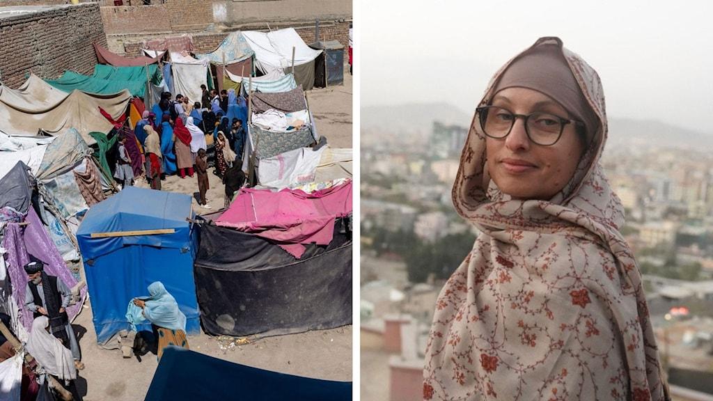 Split Naila Saleem läger i Kabul tält