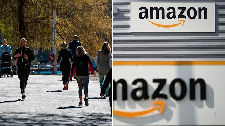 Till vänster: fotgängare i Stockholm. Till höger: internetjätten Amazons logotyp.