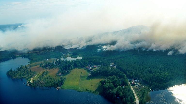 Flygbilder över branden öster om Enskogssjön nära Ljusdal.