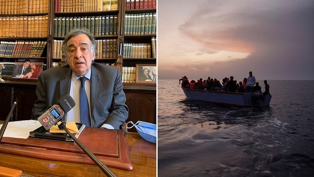 Palermos borgmästare Leoluca Orlando och bild på migrantbåt på Medelhavet.