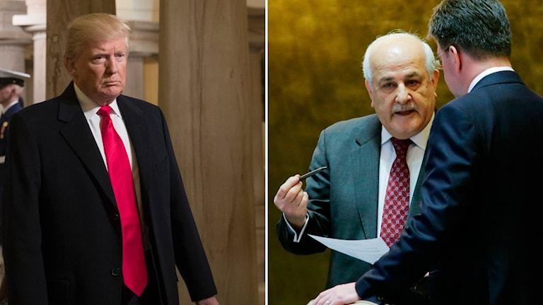 Donald Trump och den palestinske FN-ambassadören Riyad Mansour.