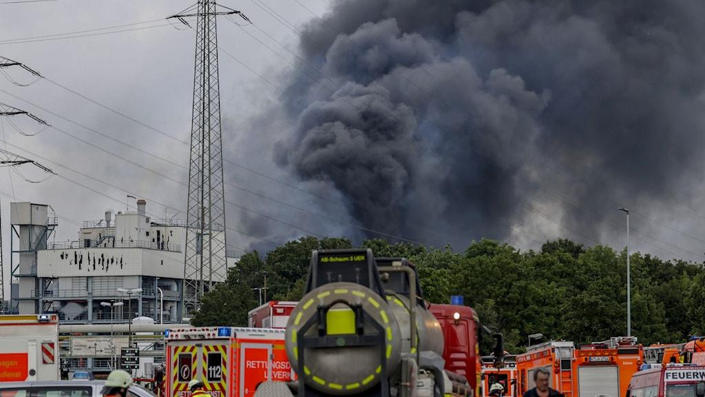 Rök över explosion