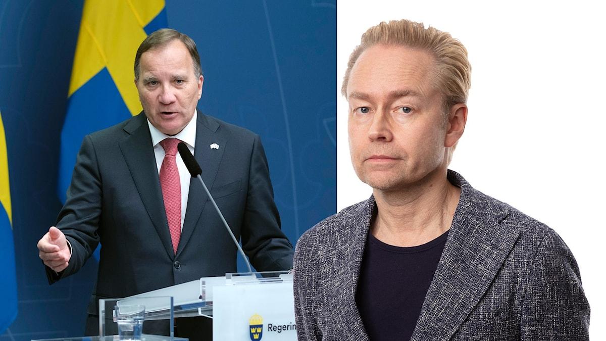 Statsminister Stefan Löfven (S) och Ekots inrikespolitiske kommentator Fredrik Furtenbach.