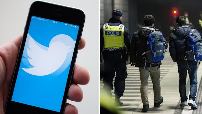 Montage. Twitter-logga och flyktingar.