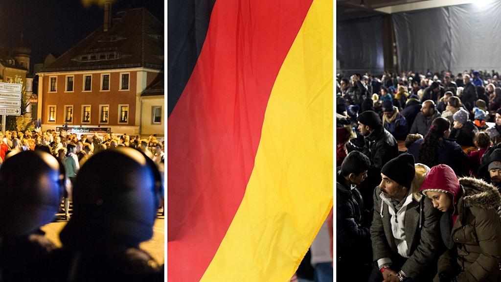Tyskland, flyktingar och demonstrationer