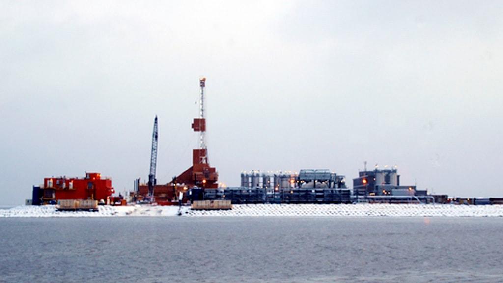 Borrutrustning på konstgjord ö.
