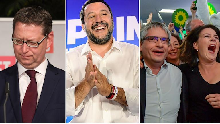 Thorsten Schaefer-Guembel, toppkanditad för S i Tyskland, Metteo Salvini, ledare för Lega och de gröna i Tyskland.
