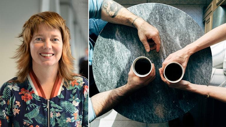 Delad bild: kvinna och två personer som möts över en kopp kaffe.