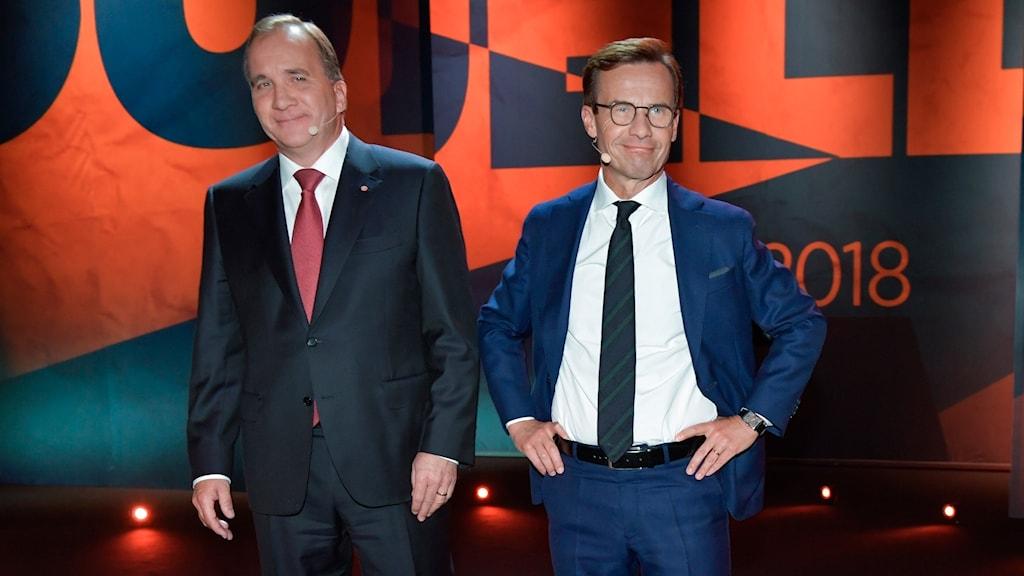 Stefan Löfven och Ulf Kristersson under TV4s valduell