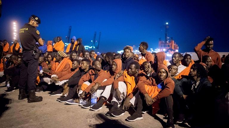 Migranter i hamnstaden Algeciras i Andalusien i södra Spanien.