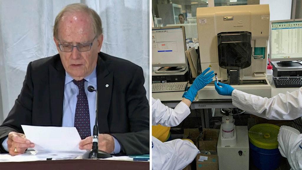 Richard McLaren presenterade Wadas rapport. Till höger det statliga testlaboratoriumet för dopning i Moskva.