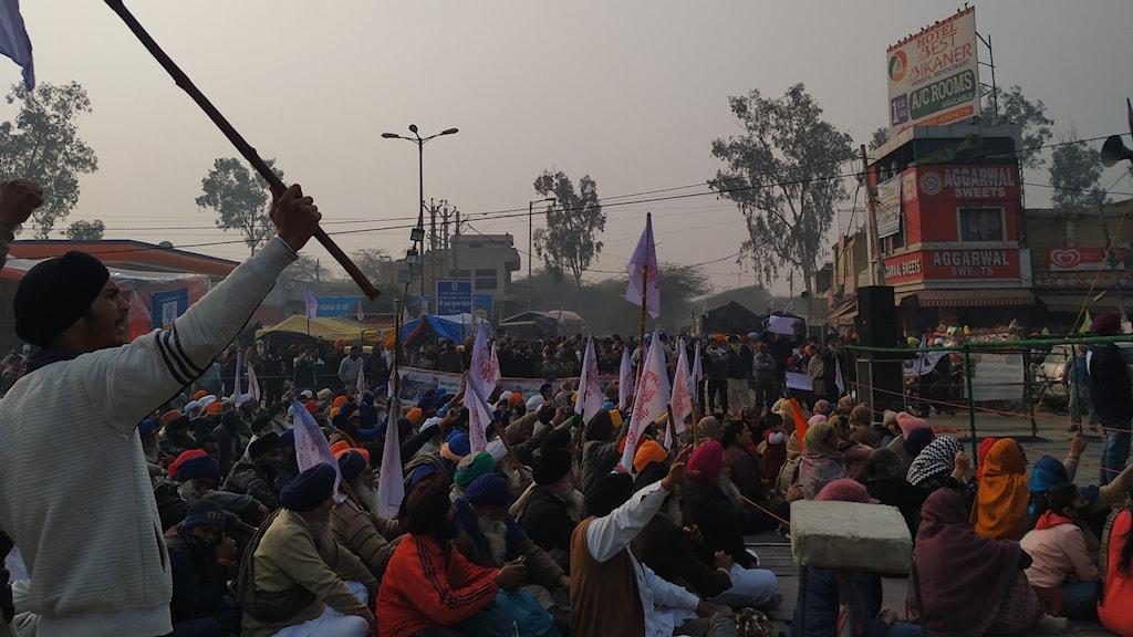 Utanför Indiens huvudstad New Delhi har tusentals bönder och deras traktorer samlats för att protestera mot jordbruksreformen.